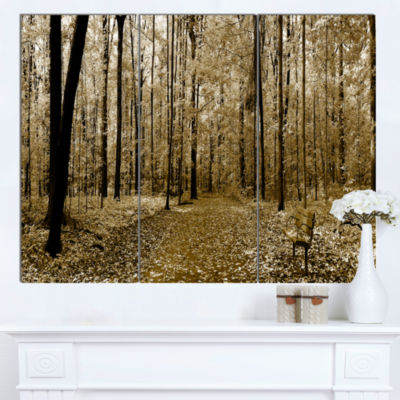 Designart Wooded Forest Panoramic View Modern Forest Canvas Art - 3 Panels