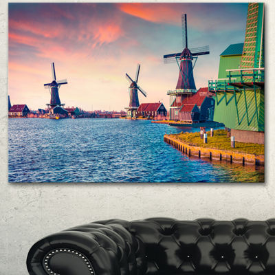 Designart Zaandam Mills On Water Channel Large Landscape Canvas Art Print - 3 Panels