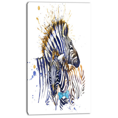 Designart Zebra Family Illustration Watercolor Contemporary Animal Art Canvas