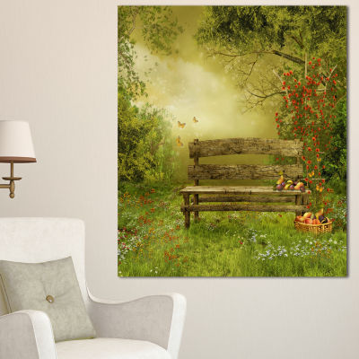 Designart Wooden Bench In Village Orchard Large Landscape Canvas Art - 3 Panels