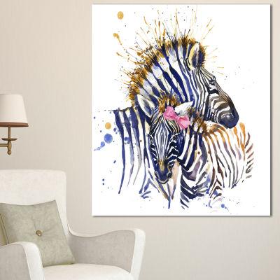 Design Art Zebra Watercolor Leftwards Animal Canvas Art Print