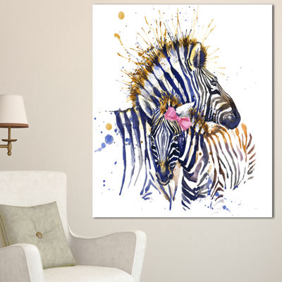 Designart Zebra Watercolor Leftwards Animal CanvasArt Print - 3 Panels