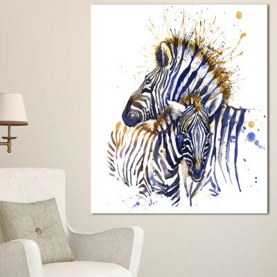Design Art Zebra Watercolor Rightwards Animal Canvas Wall Art - 3 Panels