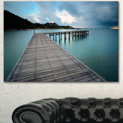 Designart Wooden Bridge To Calm Ocean Modern Canvas Art Print - 3 Panels