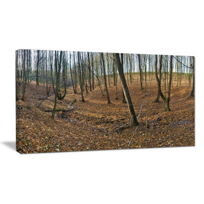 Designart Woods In Fall Forest Panorama Forest Canvas Art Print