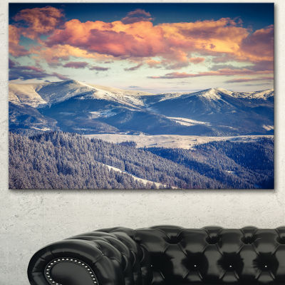 Designart Winter Alpine Sunset Over Hills Large Landscape Canvas Art Print - 3 Panels