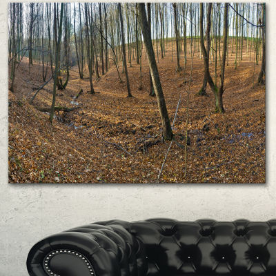 Designart Woods In Fall Forest Panorama Forest Canvas Art Print - 3 Panels