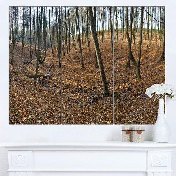 Design Art Woods In Fall Forest Panorama Forest Canvas Art Print - 3 Panels