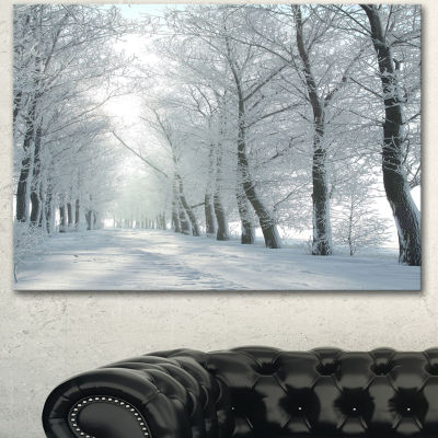 Designart Winter Country Lane On Frosty Morning Large Forest Canvas Art Print