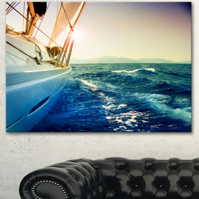 Designart Yacht Sailing In Wavy Waters Large Seashore Canvas Wall Art
