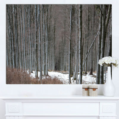 Designart Winter Forest With Thick Trees Forest Canvas Art Print - 3 Panels