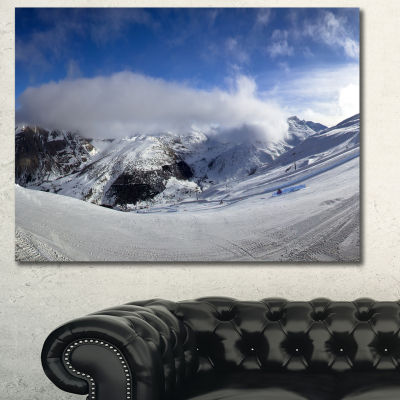 Designart Winter In Alps Panorama Landscape CanvasArt Print