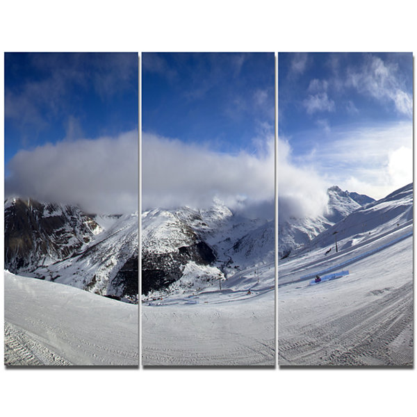 Designart Winter In Alps Panorama Landscape CanvasArt Print - 3 Panels