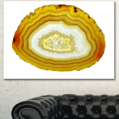 Designart Yellow Agate With Geological Crystal Large Abstract Canvas Artwork - 3 Panels