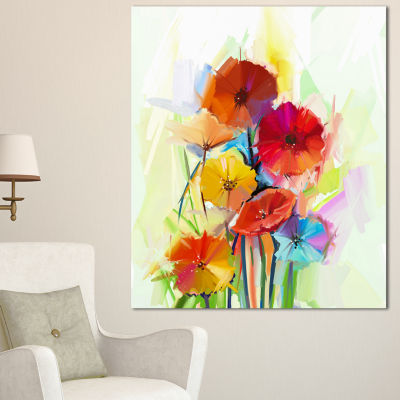 Designart Yellow And Red Gerbera Flowers Large Floral Canvas Artwork - 3 Panels