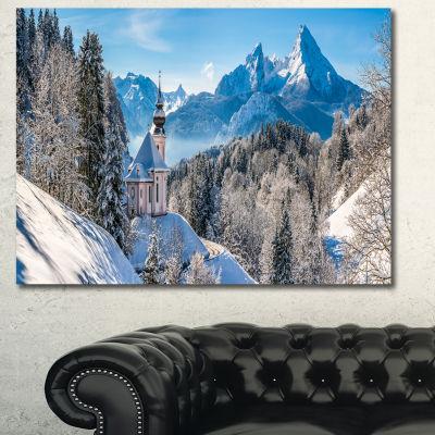 Design Art Winter In The Bavarian Alps Landscape Canvas Art Print - 3 Panels