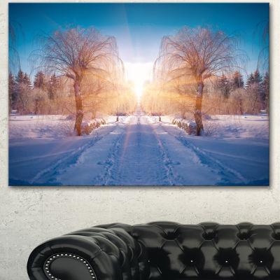 Designart Winter Landscape In City Park LandscapeCanvas Art Print
