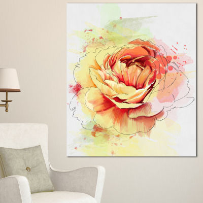 Designart Yellow Blooming Rose Floral Canvas ArtPrint