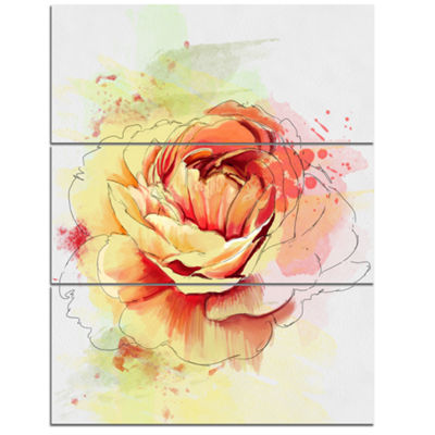 Designart Yellow Blooming Rose Floral Canvas ArtPrint - 3 Panels