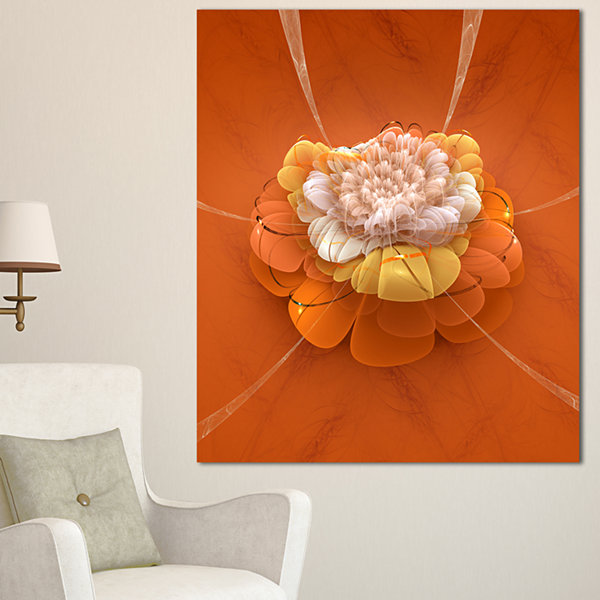 Designart Yellow Blossom Fractal Flower Flower Artwork On Canvas