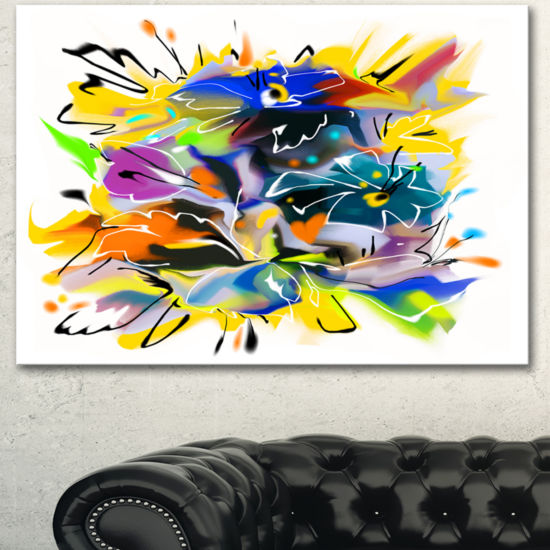 Designart Yellow Blue Abstract Floral Design ExtraLarge Floral Wall Art