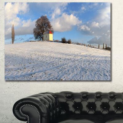 Designart Winter Landscape With Chapel LandscapeCanvas Art Print