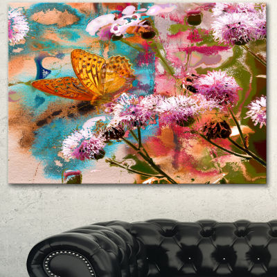 Designart Yellow Butterfly On Thistle Flowers Floral Art Canvas Print - 3 Panels