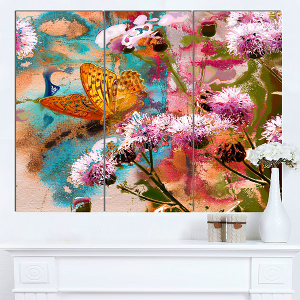 Design Art Yellow Butterfly On Thistle Flowers Floral Art Canvas Print - 3 Panels