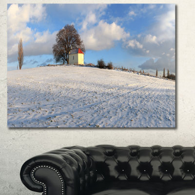 Designart Winter Landscape With Chapel LandscapeCanvas Art Print - 3 Panels