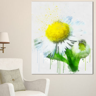 Designart Yellow Chamomile Sketch Watercolor Floral Canvas Art Print