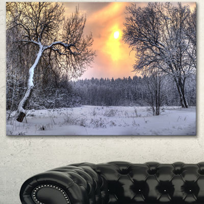 Designart Winter Landscape With Yellow Sun Landscape Canvas Art Print - 3 Panels