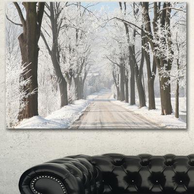 Designart Winter Lane In Countryside Large ForestCanvas Art Print