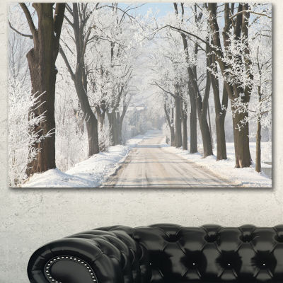 Design Art Winter Lane In Countryside Large ForestCanvas Art Print - 3 Panels