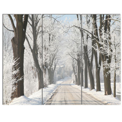 Designart Winter Lane In Countryside Large ForestCanvas Art Print - 3 Panels