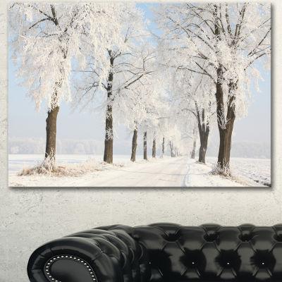 Designart Winter Lane On Sunny Morning Forest Canvas Art Print - 3 Panels