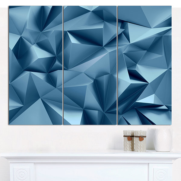Designart 3D Abstract Geometric Background Abstract Canvas Wall Art - 3 Panels