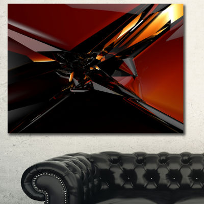 Designart 3D Abstract Red Glass Design Abstract Canvas Art Print - 3 Panels