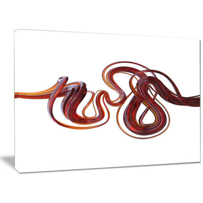 Designart 3D Flexible Caramel Lines Abstract Canvas Art Print