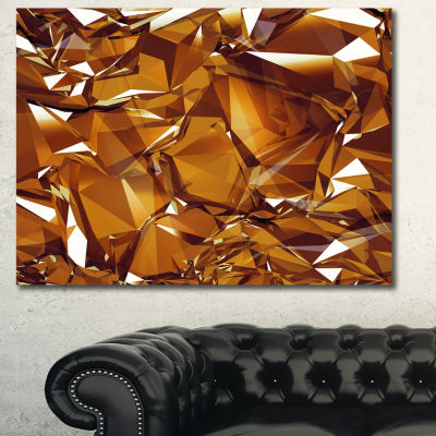 Designart 3D Gold Crystal Background Abstract Canvas Wall Art - 3 Panels