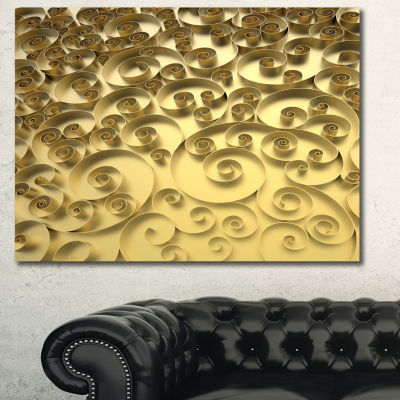 Designart 3D Golden Curly Background Abstract Canvas Art Print - 3 Panels