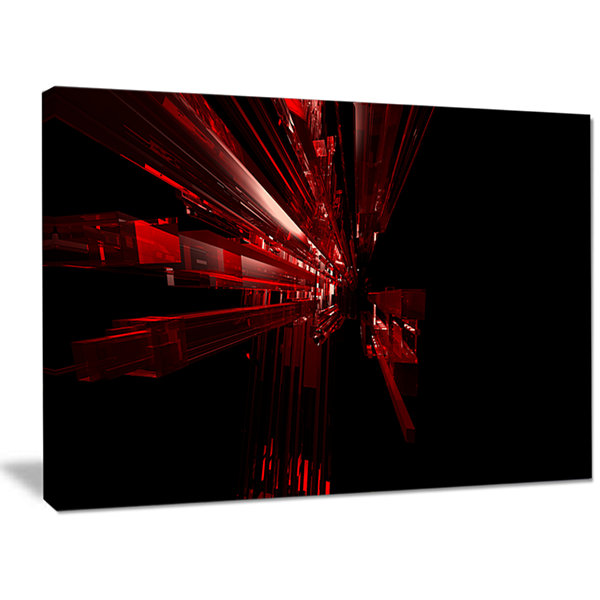 Designart 3D Red Crystal Background Abstract Canvas Art Print