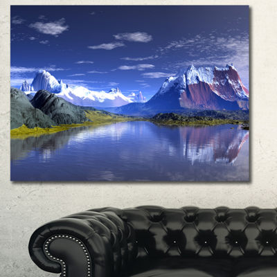Designart 3D Rendered Mountains And Lake LandscapeCanvas Art Print - 3 Panels