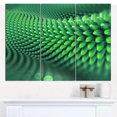 Designart Abstract 3D Spiny Background Abstract Canvas Wall Art - 3 Panels