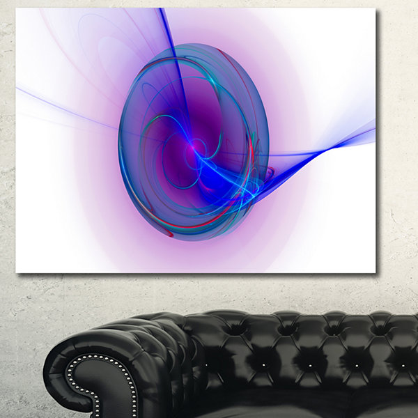 Designart Abstract Blue Fractal Design Abstract Canvas Art Print