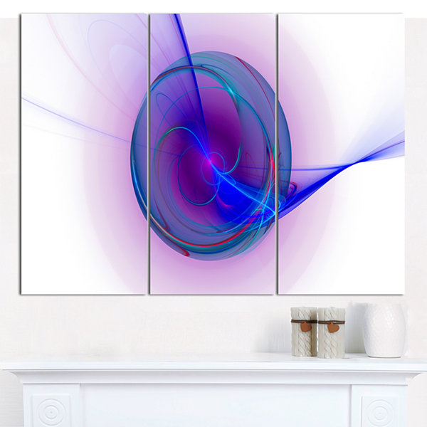 Designart Abstract Blue Fractal Design Abstract Canvas Art Print - 3 Panels