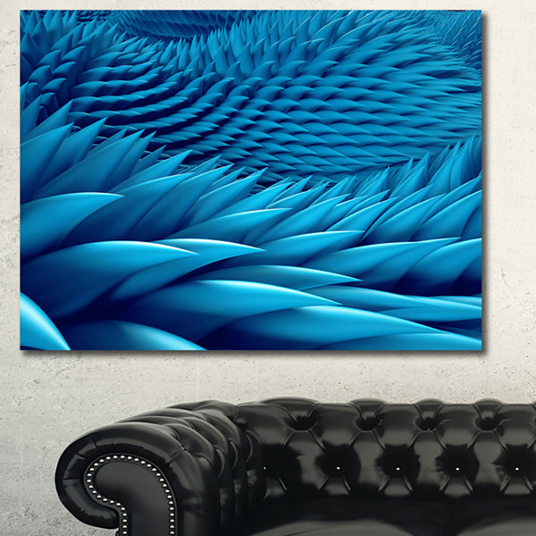 Designart Abstract Blue Wavy Background Abstract Canvas Art Print