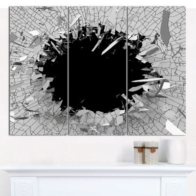 Designart Abstract Broken Wall 3D Design AbstractCanvas Wall Art - 3 Panels