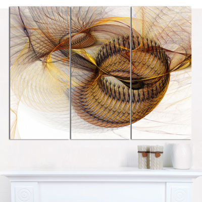 Designart Abstract Brown Spiral Texture Abstract Canvas Art Print - 3 Panels