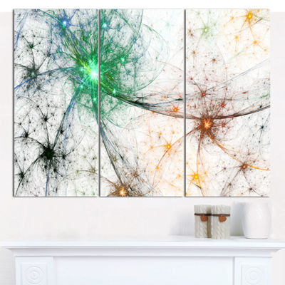 Designart Abstract Colorful Fireworks Abstract Canvas Art Print - 3 Panels