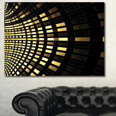 Designart Abstract Fractal Gold Square Pixel Abstract Art On Canvas - 3 Panels